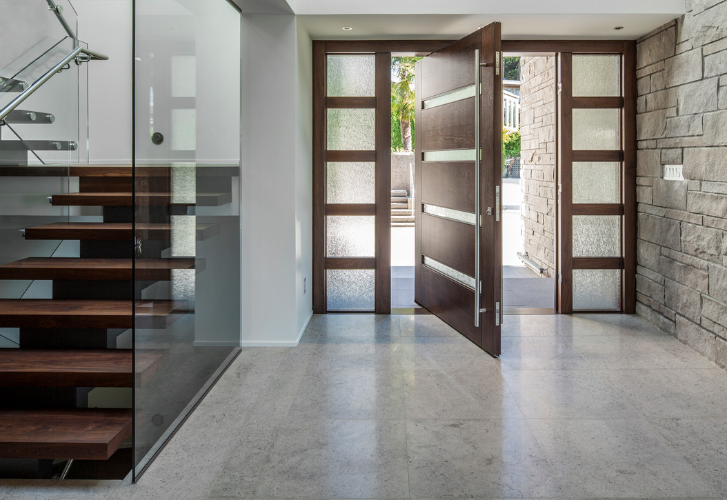 Solid Wood Pivot Door with Two Sidelights
