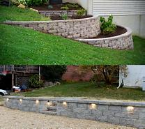 Retainig wall landscaping install,  berks county, Pennsylvania.