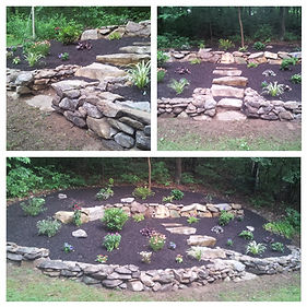 Natural stone wall landscape design,dry laid, perennials and mulch install  berks county, Pennsylvania.
