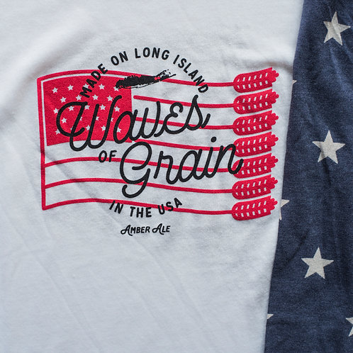 """Waves of Grain"" Red, White, & Blue Cotton Baseball Tee"