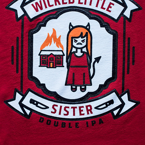 """""""Wicked Little Sister"""" Red Cotton Tee"""