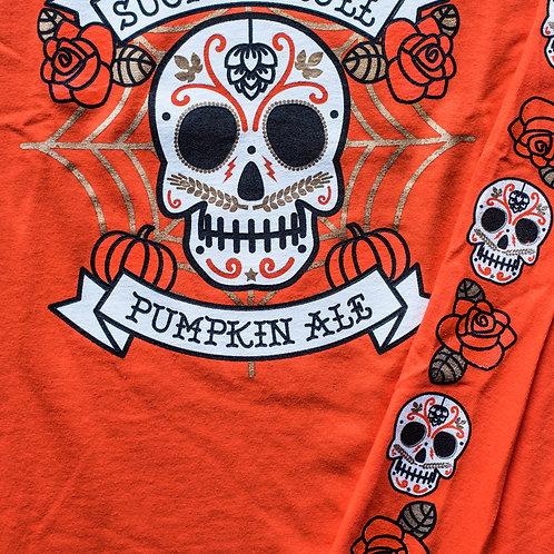 """Sugar Skull"" Orange Cotton Long-Sleeve Tee"