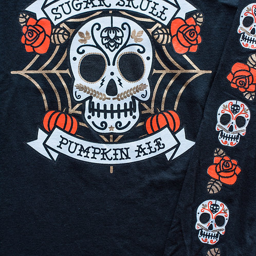 """Sugar Skull"" Black Cotton Long-Sleeve Tee"