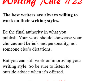 Writing Rule #22: Your Writing Style Isn't Completely Stable