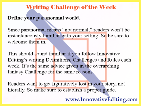 A Not-So-Special Paranormal Fiction Writing Challenge