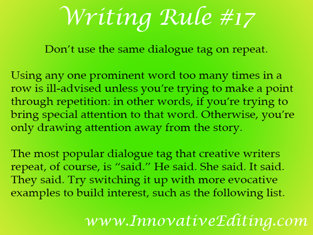 "When It Comes to Dialogue Tags, Don't Just Say ""Said"""
