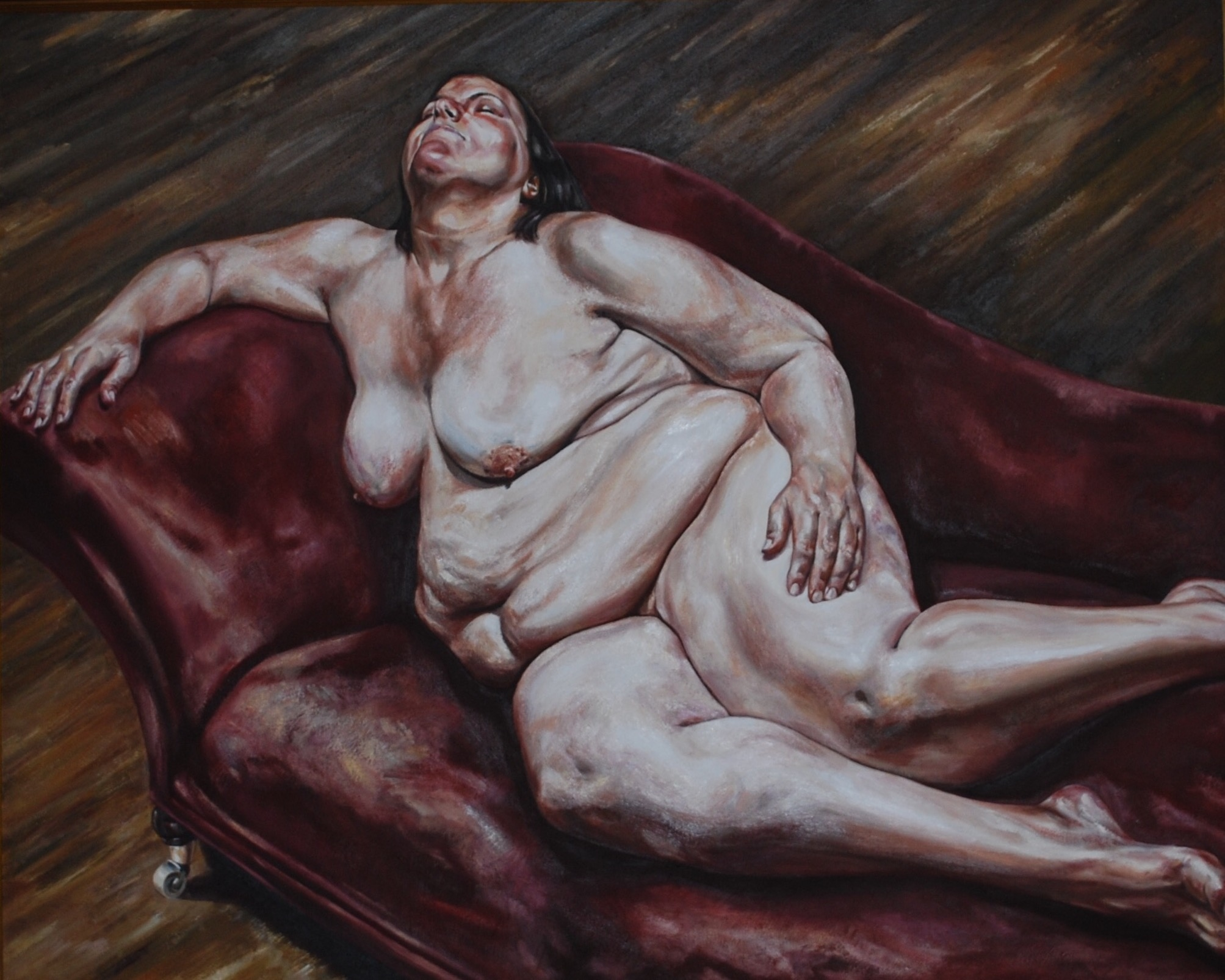 'Reclining Nude on Red Chaise'