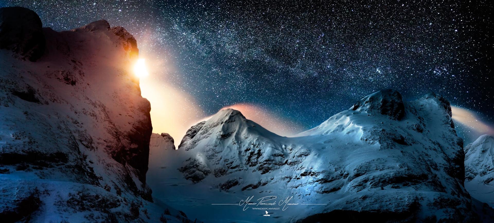 Moon on Mountain Marmolada photo by Mario Piercarlo Marino