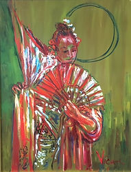 Andrew Vicari, oil painting, woman and fan, Japanese woman