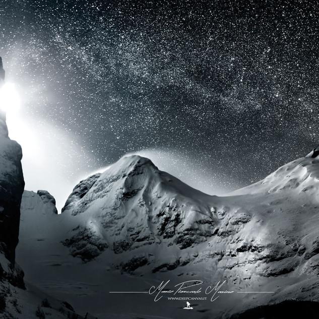 Marmolada Milky way Moon Sacrario del Monte Grappa Mario Piercarlo Marino