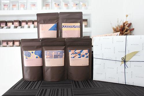 紅茶ギフト リーフティー×5種(各50-100g入り)手提げ付き