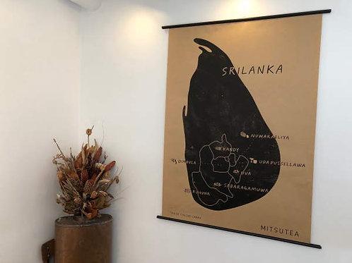 スリランカ 紅茶産地別マップ A2サイズ
