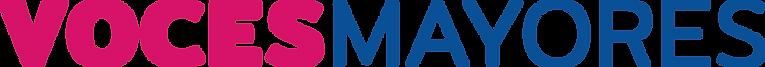 Logo Iniciativa Voces Mayores. Voces escrito en fucsia y bold y Mayores en azul y en fuente normal