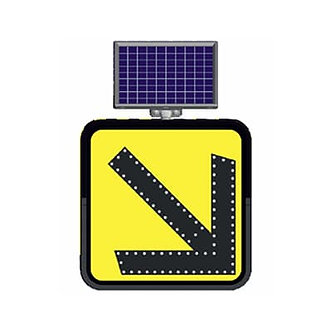 Keep Right Directional (Small) / Solar Powered Flashing LED Edge Lit Sign