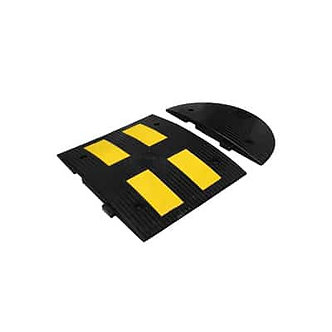 Side Cover of Speed Bump Size B/Yellow Reflective Tape 23.62″x11.81″x1.77″