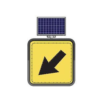 Keep Left Lane / Solar Powered Flashing LED Edge Lit Signs