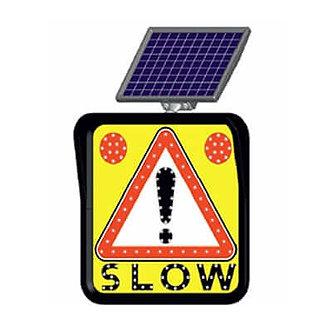 Slow Speed Danger Warning / Solar Powered Flashing LED Edge Lit Signs