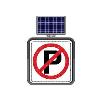 No Parking / Solar Powered Flashing LED Edge Lit Signs