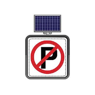 No Parking / Solar Powered Flashing LED Edge Lit Signs