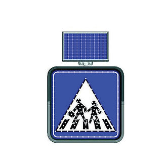 Blue School Crossing / Solar Powered Flashing LED Edge Lit Signs