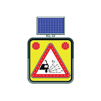 Pothole Warning / Solar Powered Flashing LED Edge Lit Signs