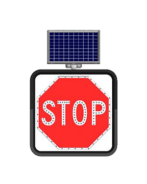 Stop / Solar Powered Flashing LED Edge Lit Signs
