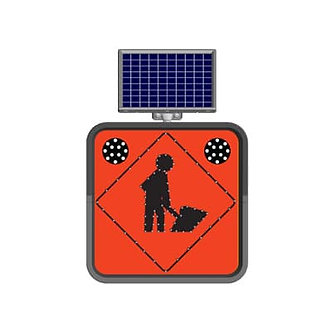 Men at Work/ Solar Powered Flashing LED Edge Lit Sign