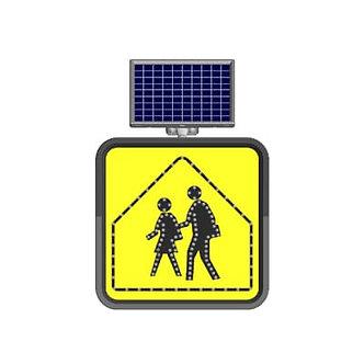 School Crossing/Solar Powered Flashing LED Edge Lit Sign