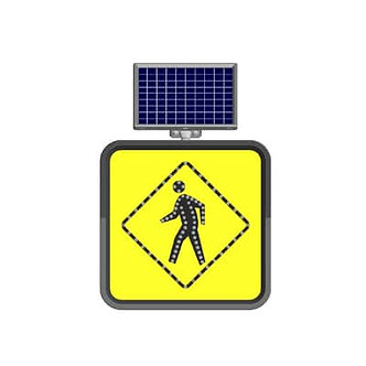 Pedestrian Crossing / Solar Powered Flashing LED Edge Lit Signs