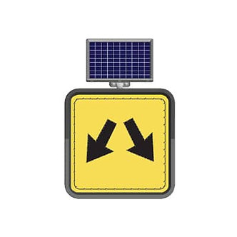 Center Out Warning / Solar Powered Flashing LED Edge Lit Signs