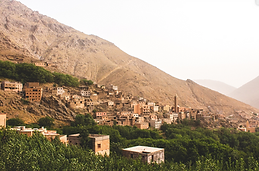 village in the High Atlas montains hghest mounains in north africa in morocco