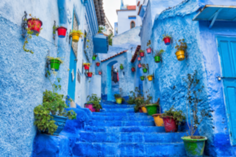 blue city street in Chaouen the north of morocco