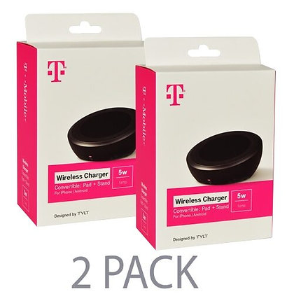 (2-Pack) T-Mobile Wireless Charger Pad+Stand for iPhone/Android (Black)