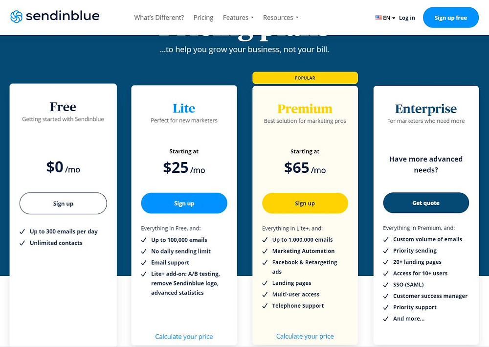 Sendinblue pricing