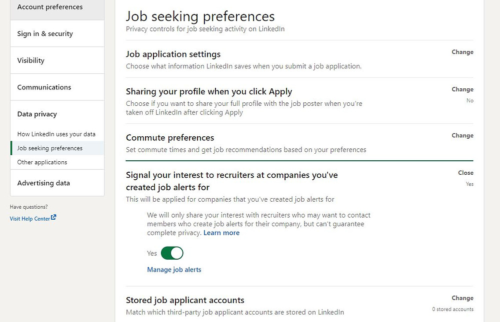 LinkedIn Job Seeking Preference