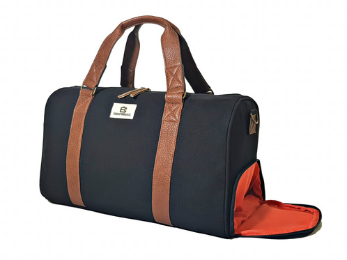 The NEW Adam Duffle By Chad Hayward Co Made From Hardwearing Premium Black Cotton Canvas With Comfortable Yet Stylish Brown Pebbled Handles And Trim