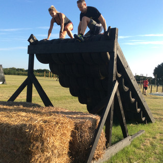 tyre slanted wall climb obstacle course