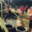 Rope swing across water