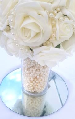 Tubular Vase with Foam Roses
