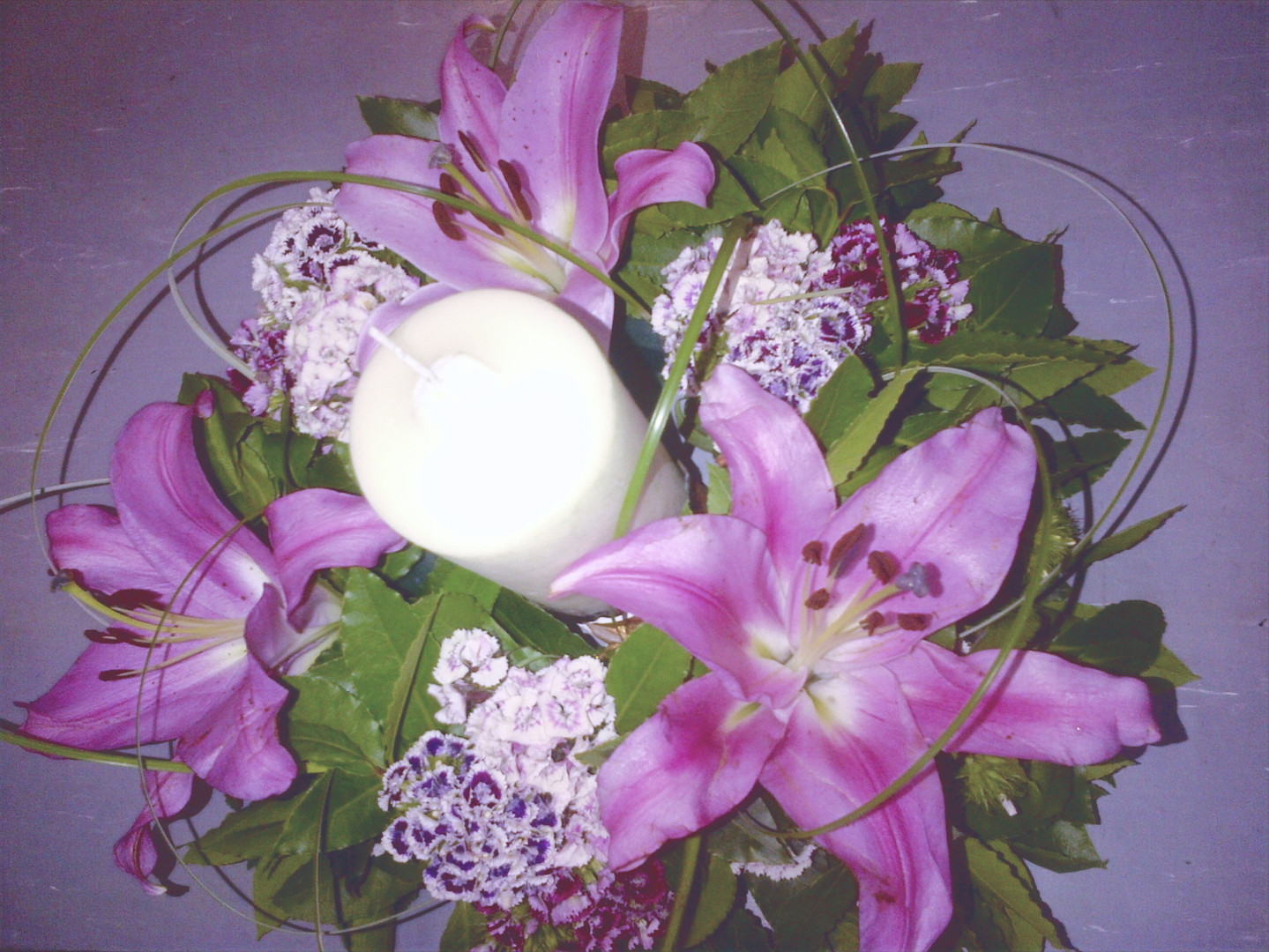 Fresh Lily & Candle Display