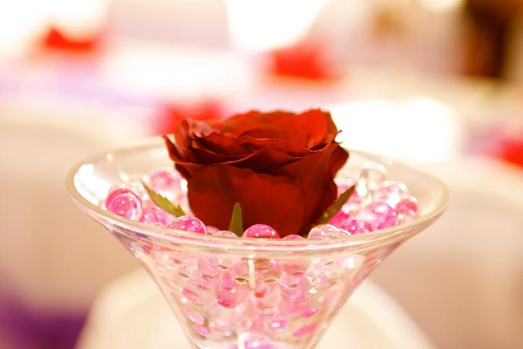 Martini Vase With Fresh Rose