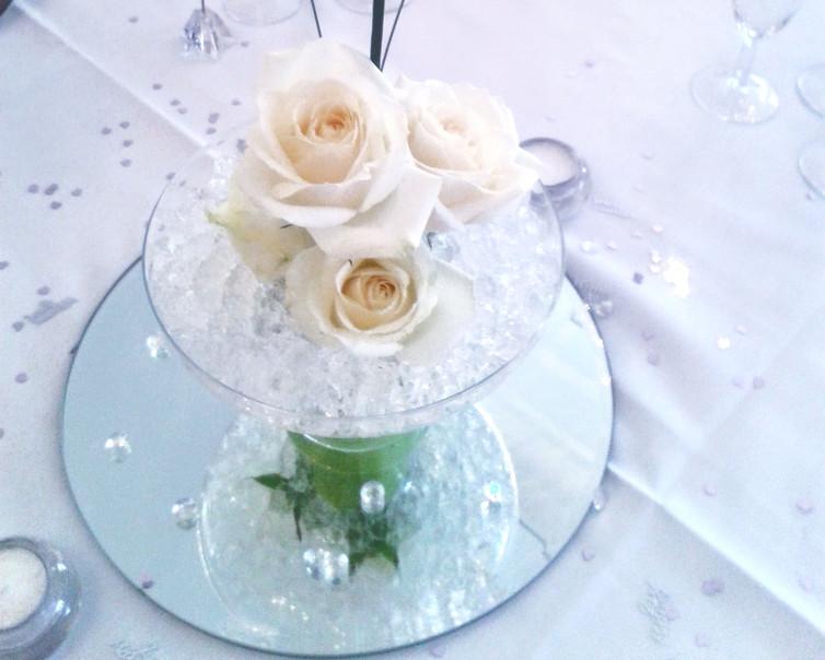 Pedestal Vase with Fresh Roses