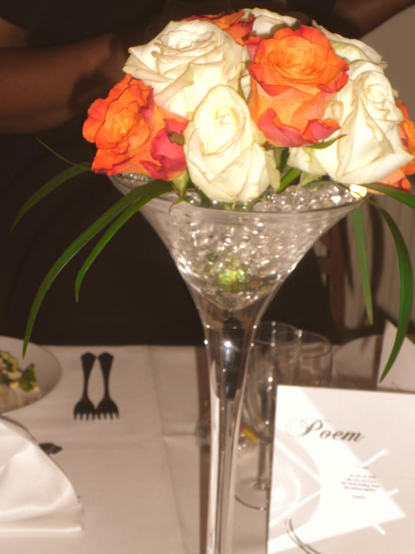 Martini Vase with Fresh Flowers