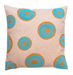 turquoise on orange Cushion
