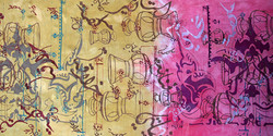 Textile print by Omeima Mudawi-Rowlings_from Ilham Exhibition, Doha, Qatar