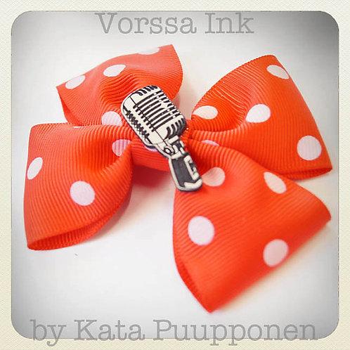 Rockabilly Pin-Up Orange Polka Dot Bow & Mic