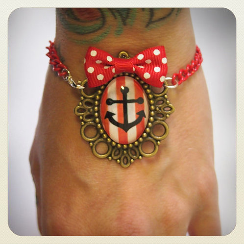 Pin-Up Style Candy Striped Anchor & Bow Bracelet