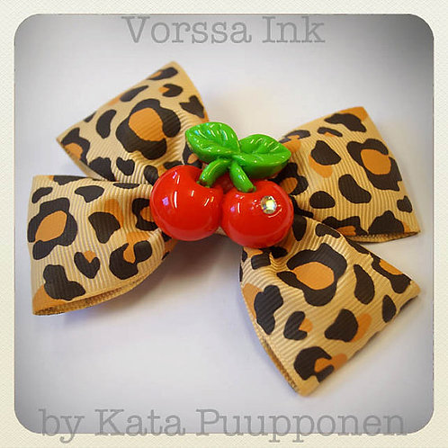 Pin-Up Rockabilly Leopard Bow & Cherries