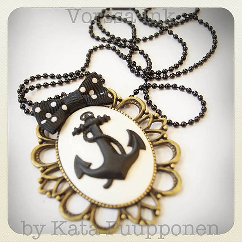 Large Anchor Tattoo Cameo Necklace