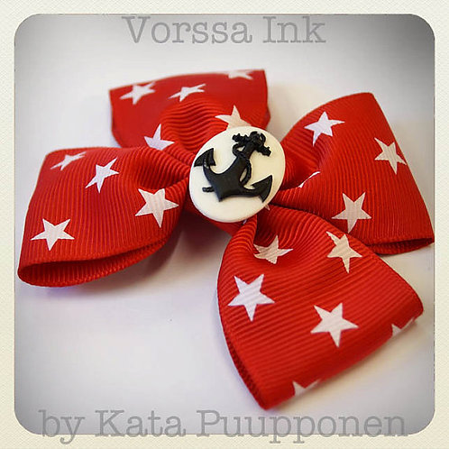 Pin-Up Red & White Star Bow & Anchor Cameo